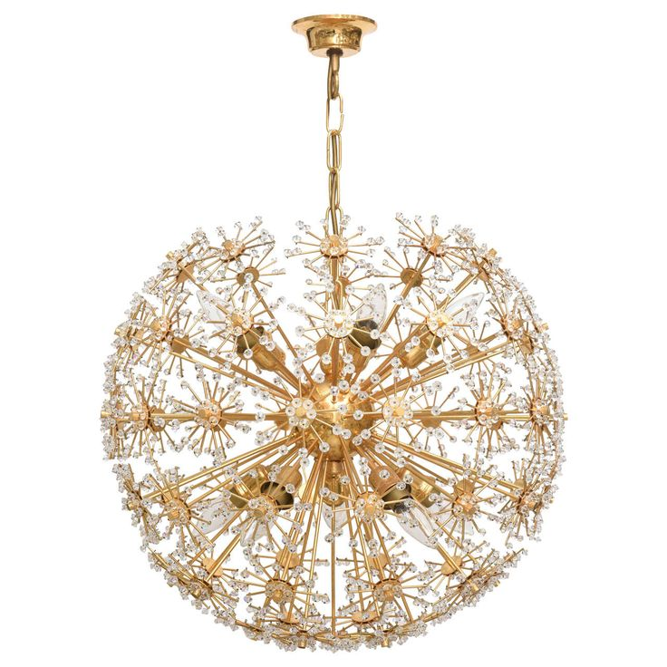 vintage brass and crystal snowball chandelier from a unique collection of antique and modern chandeliers chandeliers and pendant lighting