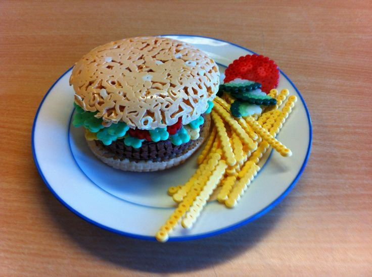 Hamburger with french fries, made with NABBI fuse / ironing beads