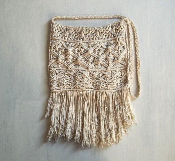 Macrame bag Purse Crossbody bag Boho White Cotton от NemoZantic, $32.00