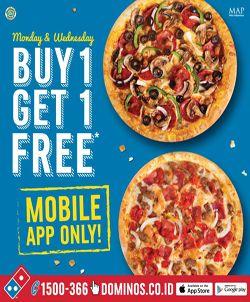 Promo ini pas banget nih buat teman buka puasa kamu hari ini, pesan menu pizza favorit kamu di Dominos Pizza via mobile apps dan dapatkan promosi beli 1 gratis 2, penawaran hanya berlaku di hari rabu ya.