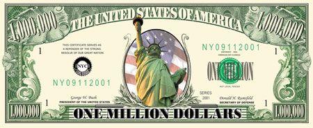 One million dollar bills, one million dollars, million dollar bill