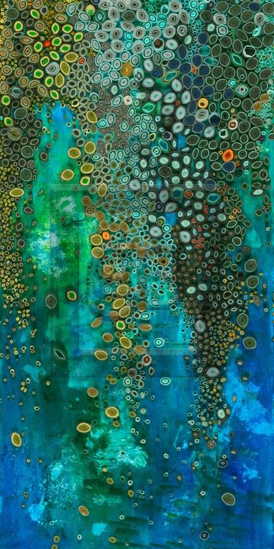 Waterfall by Amy Genser - rolled paper on painted background
