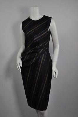 ADAM LIPPES Black/Navy/Mustard Stripe Sleeveless Wool Dress Sz6