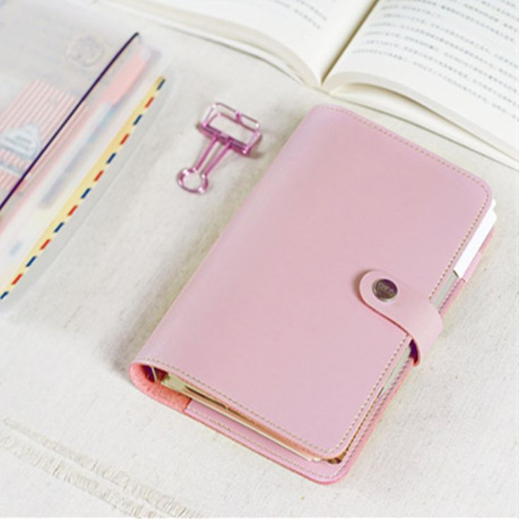 Japanese Macaroon Personal Organizer Leather Business Office Binder Notebook…