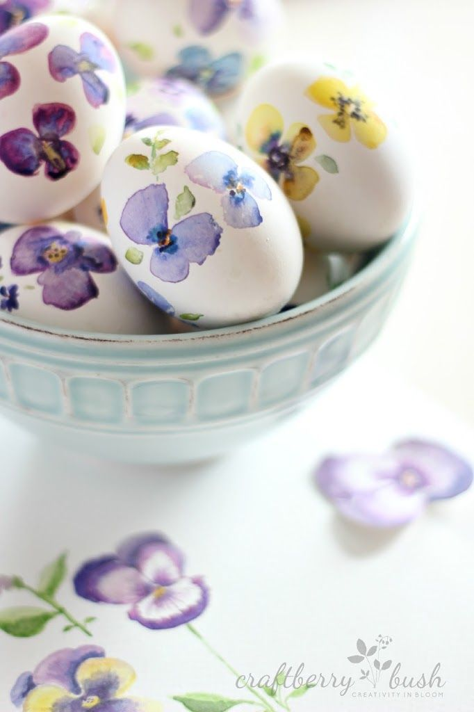 Watercolor Eggs - Craftberry Bush .... pansies are one of my favorite flowers because it was one of my Grandma's favorites....I just wish I had a tiny bit of Lucy's talent!