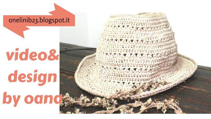 Lavorate insieme a me , all'uncinetto un bellissimo cappello estivo Fedora style, per lui o per lei