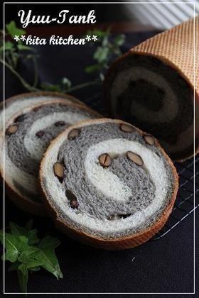 黒豆&黒ゴマクリームのメッシュパン☆