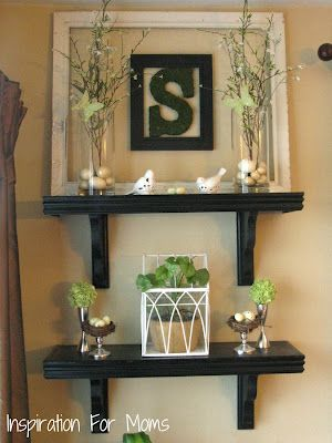 beautiful spring mantel
