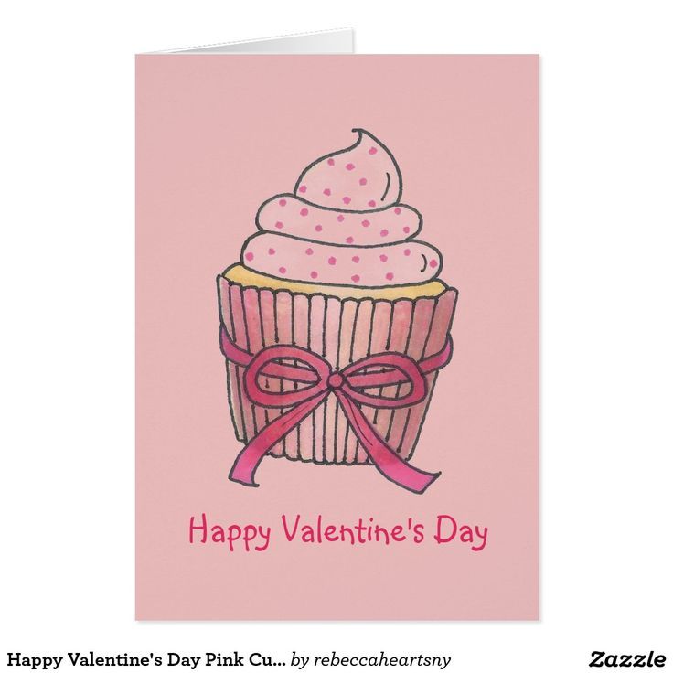 Happy valentines day pink cupcake cake love cards