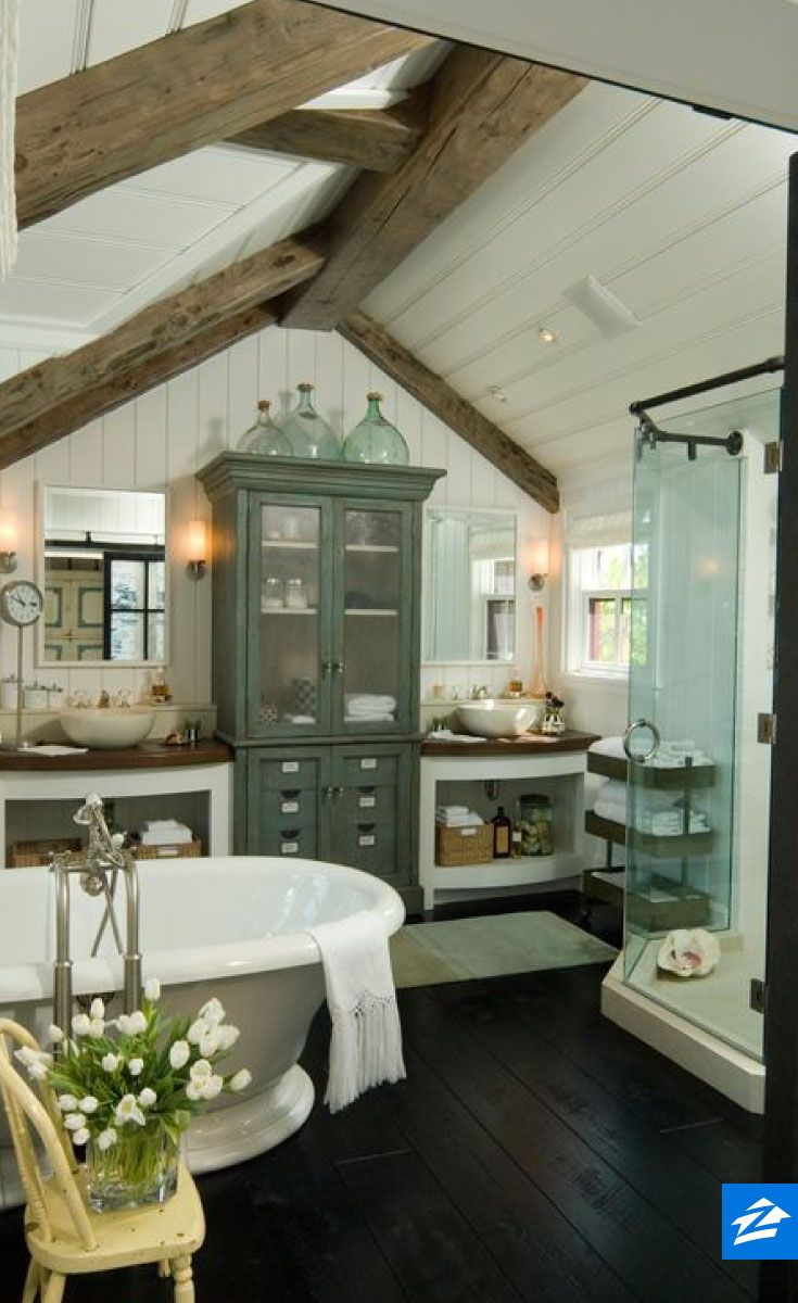 You could spend all day in this cozy country bathroom.