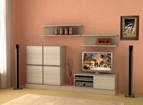 Модульная мебель для гостиной. Модульная стенка Доминик. Модульная стенка Доминик мини.Модульная система Доминик мини для гостиной комнаты и спальни.Большое количество модулей (мини-стенка,угловые шкафы,шкафы для одежды,тумбы под телевизор,стеллажи,кровати,тумбы прикроватные,стенка,модульная мебель для гостиной,в гостиную) поможет Вам собрать свою неповторимую гостиную.