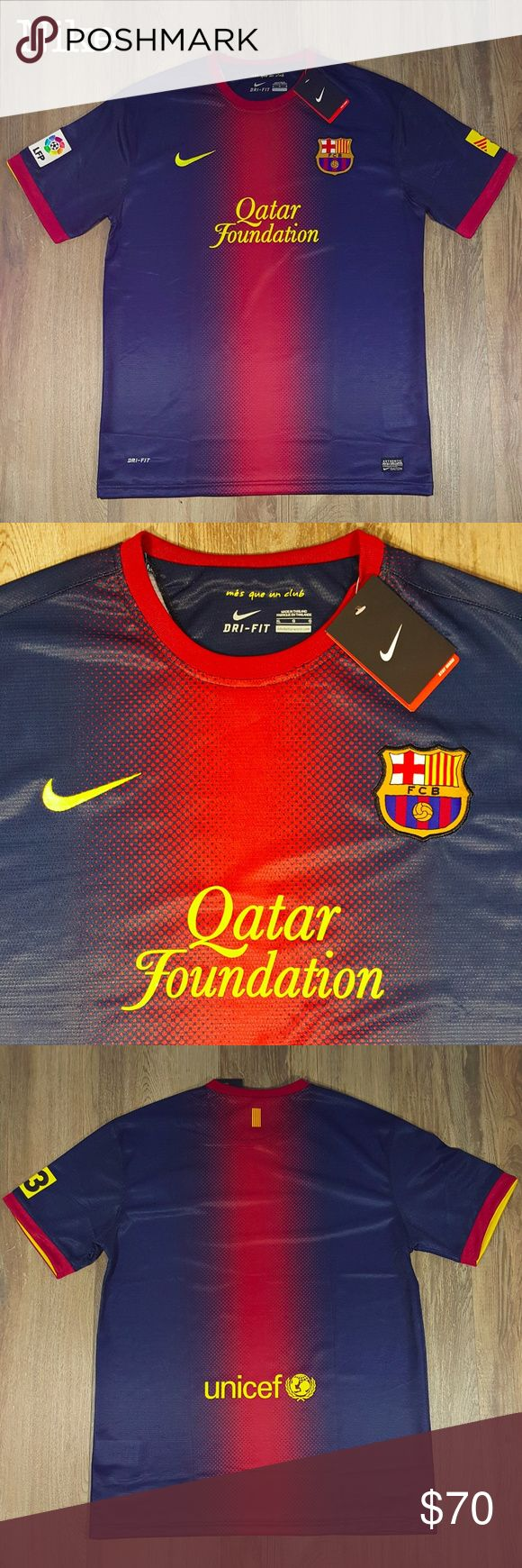 Nike FCB Qatar Foundation Barcelona Soccer XL FCB Qatar Foundation Barcelona Soccer Futbol Jersey Shirt by Nike XL Qatar Foundation is printed on front. Embroidered Nike logo by neckline. FCB applique. LFP applique on sleeve. Unicef logo on back. Jersey style. Short sleeves. Polyester Measures 22 inches from pit to pit and is 31 inches long. All measurements taken with garment laying flat. Images represent exactly how product/s look/s like. Ships within 24 hours after purchasing.  BUNDLE…