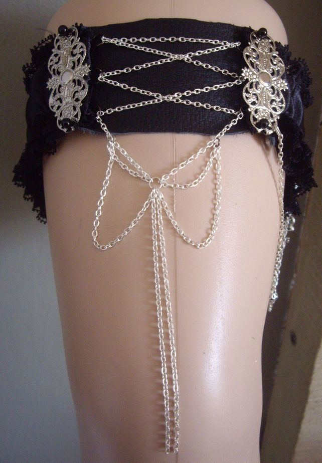 Gothic Black Lace And Leather Chained Corset Style Bride Bridal Wedding Garter GBP2095