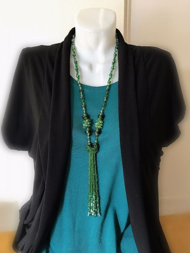 Handmade long green beaded glass necklace for woman Artisan necklace #Handmade #Statement