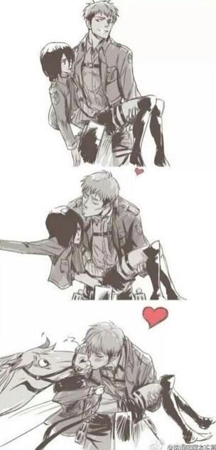 Pure brilliance :3 It would've been awesome if Mikasa had grabbed Marco instead <<<but it's horse face x horse now!!