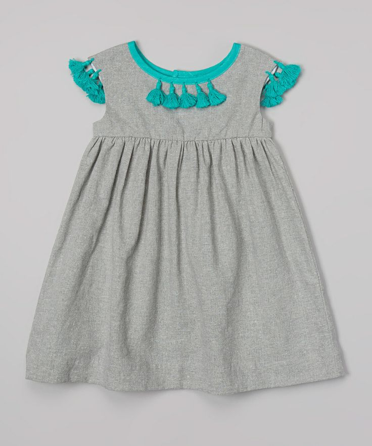 Gray & Teal Babydoll Linen-Blend Dress