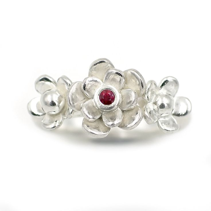 Floral Ruby Trilogy Ring