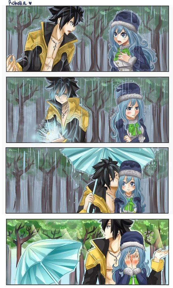 That's so adorable. I like how she was sad and Gray made that umbrella for the sole purpose of holding it over them and kissing her cheek.