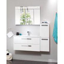 Armoire de toilette SEDUCTA 90 cm, 1 porte centrale 45 cm et 2 portes latérales 22,5 cm avec miroir contrecollé, éclairage tube fluorescent, cedeo, 315€