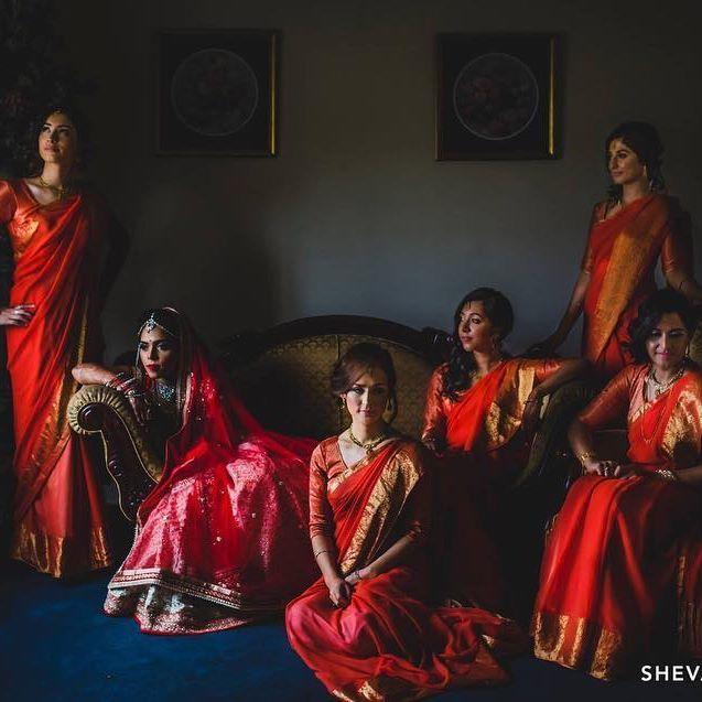 #TB to Brindha and her bridesmaids slaying the pose!  www.shevanj.com . . . . . #wedding #indianwedding #bridesmaids #weddingphoto #melbourneweddingphotographer #mua @lajeenartistry #southasianwedding #indianbride