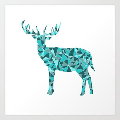 Stag - King of the Forest Geometric Digital Print Teal Art Print by BadgerBlossom - $16.64