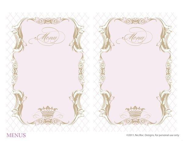Blank Fancy Menu Template Printable Menu And Chart With Blank