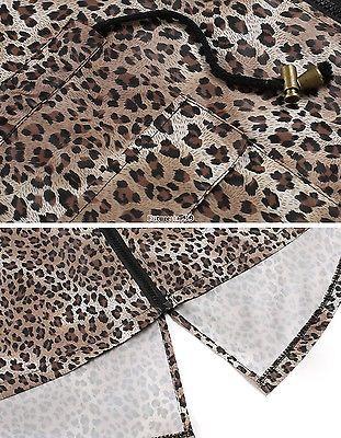 Women Fashion Leopard Fishtail Waist Drawstring Hooded Long Raincoat outwear FT