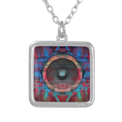 Red music speakers on a cracked wall silver plated necklace - cool gift idea unique present special diy