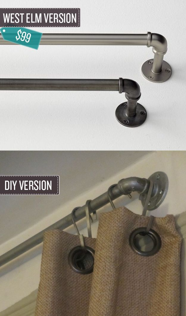 Build some industrial pipe curtain rods- for the room