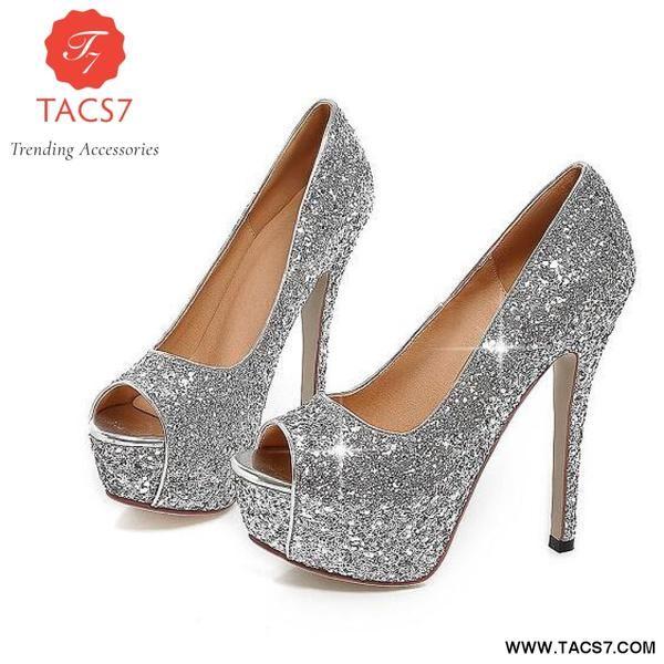 c690f52841e1be Bling Fashion Woman Shoes Peep Toe Stilettos Silver   11 ...