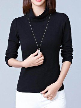 ハイネック シンプル ソリッドカラー着まわしレディースTシャツ