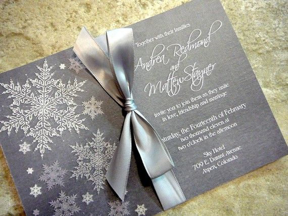 Etsy- Cool and Frosty Silver Snowflake Invitation Sample Set