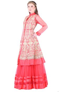 Gajri Color Lehanga Jacket- Raw Silk Lehanga Jacket with Zari work