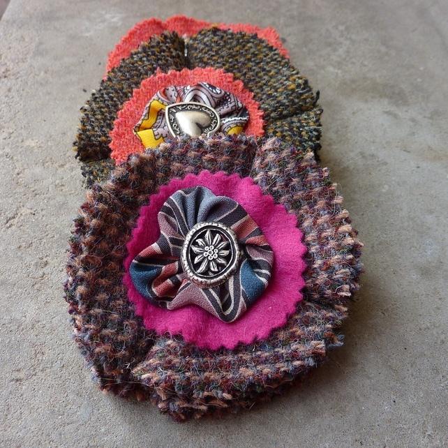 Harris Tweed and Liberty silk corsage