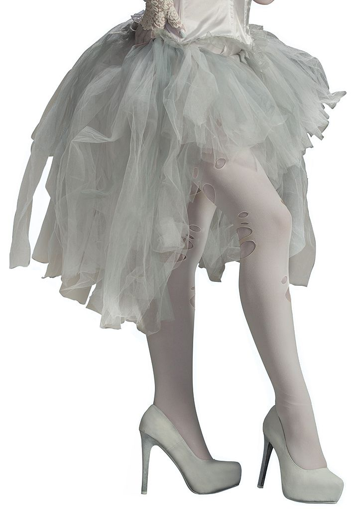 "$26 | ""Haunt the halls of your manor in our Ghost White Tutu Skirt. Its fluttery and weightless appearance will have you looking as though you can float. Our Ghost White Tutu Skirt is made of sheer white tulle with an elastic waist band and features a short mini front and long bustle back. It will bring an eerie aura worthy of any ghostly spirit. Our Ghost White Tutu Skirt is an ideal accessory for enhancing your scary ghost, undead zombie, bride or burlesque costume."""