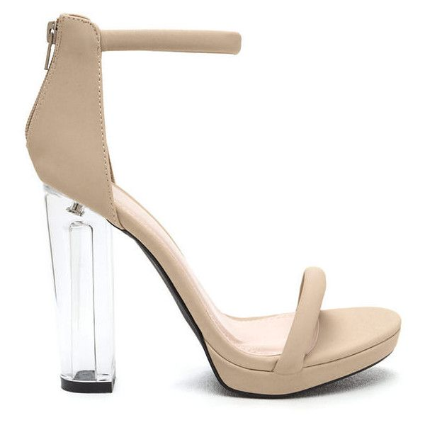 Beyond Clear Chunky Lucite Heels (765 UAH) ❤ liked on Polyvore featuring shoes, sandals, tan, high heeled footwear, strappy shoes, cushioned shoes, clear acrylic shoes and clear high heel shoes