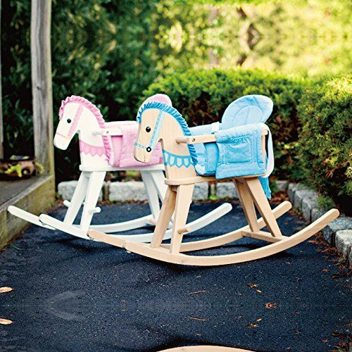 Teamson Kids - Safari Wooden Rocking Horse with Removeable Safety Surround Pad for Toddlers - White / Pink. Safe and Sturdy Wood with Lead Free Paints - CPSIA Compliant. Carefully Packaged Unique Hand Painted Hand Carved Design by Skilled Craftsman. Suitable for Kids Bedroom and Playroom to develop Imagination and Creativity with Whimsical Pieces. Easy Assembly; Best Gift for Kids Birthday; Christmas Gift; Baby Shower & many happy moments. Hand carved design with durable wooden…