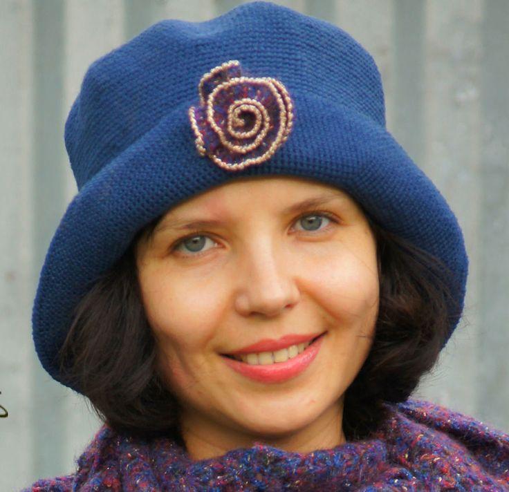 Crochet Blu Hat, Brim Hat, Floppy Hat, Womens Hat, Warm Winter Hat, Fingerless Gloves, Flapper Hat, Cloche Hat, Gift For Her, Wool Hat by AzhurLES on Etsy