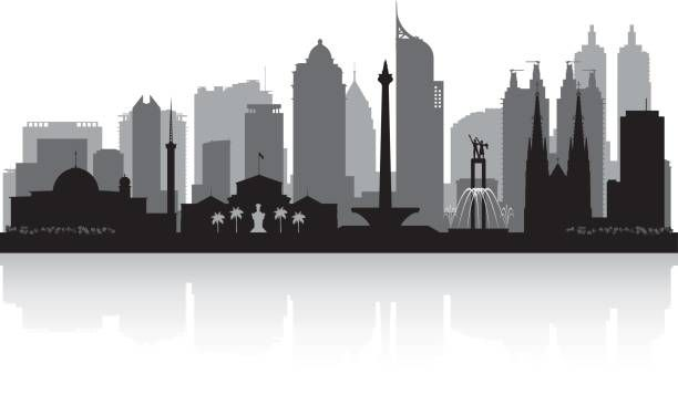 Royalty Free Silhouette Of Jakarta Skyline Clip Art Vector Images Illustrations Istock City Skyline Silhouette City Maps Illustration City Drawing