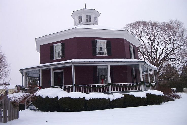 The Wilcox Octagon House is a historic home in Camillus, New York that was built in 1856 and was listed on the National Register of Historic Places in 1983. It was the farmhouse home of Isaiah Wilcox, who had a 40-acre (160,000 m2) farm. It is an octagon house of the type advocated by Orson Fowler, who wrote an influential book promoting use of octagonal home designs.