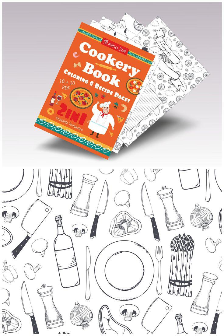 Livres coloriage adulte Libro de colorear 2 in 1 Cookery Coloring Book & Recipe Cards Coloring Recipe Pages & Food