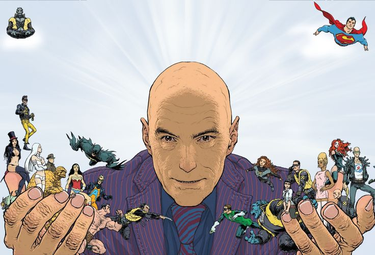 Grant Morrison and his characters, as illustrated by long-time collaborator Frank Quitely for Playboy.