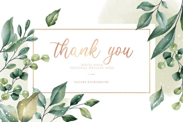 Download Thank You Card With Green Leaves For Free In 2020