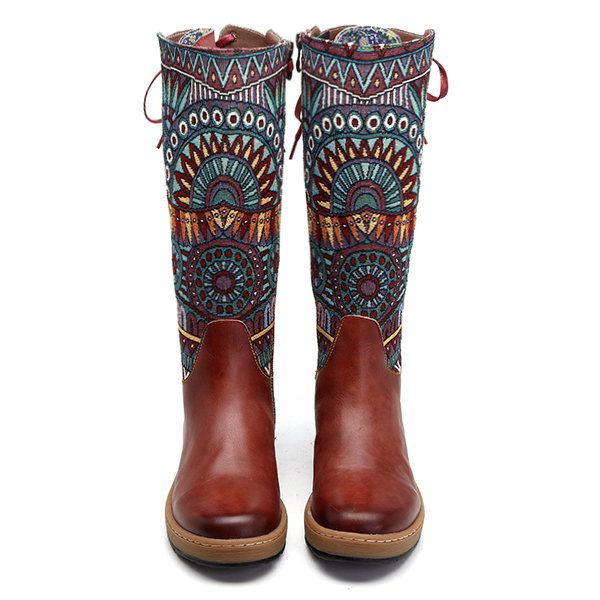 SOCOFY Bohemian Splicing Pattern Flat Leather Knee Boots