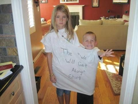 """The """"we will get along shirt"""". Love it! If I had kids I would totally do this!"""