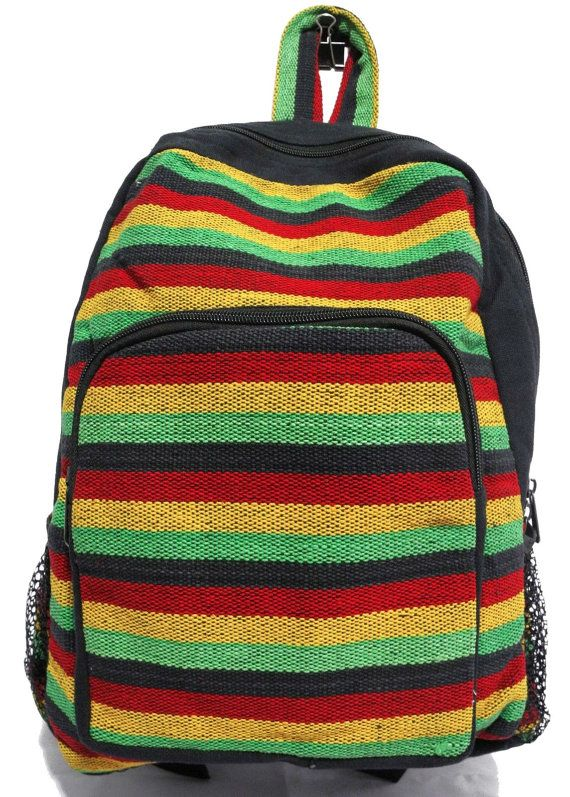 Rasta Style Cotton Colored Backpack Multi-color Jamaican