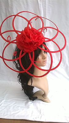POPPY RED SINAMAY & FLOWER HATINATOR HAT.Large Hatinator..Wedding.races.ascot