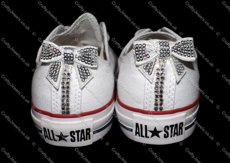 Swarovski or Diamante Crystal Adult Lo Top Converse In White