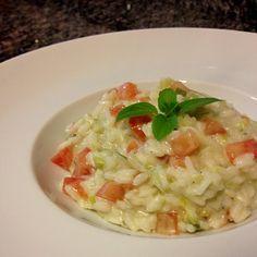 Risoto de alho poró, tomate italiano e gorgonzola.