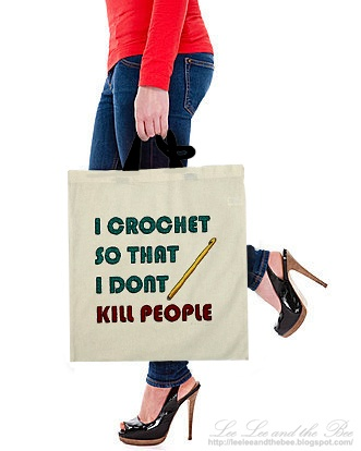 'I Crochet' shopping tote bag